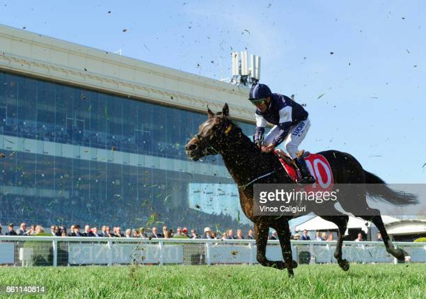 Damien Oliver riding The Taj Mahal finishing unplaced in Race 7 Ladbrokes Stakes during Melbourne Racing on Caulfield Guineas Day at Caulfield...