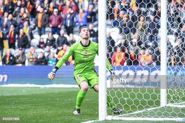 Damien Perquis of Lens during the French Ligue 2 match between Lens and Valenciennes at Stade BollaertDelelis on February 25 2017 in Lens France