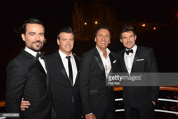 Damien Sargue Roch Voisine Dany Brillant and Vincent Niclo attend the 'For Ever Gentlemen 2' CD Launch at Le Paris boat on October 1 2014 in Paris...