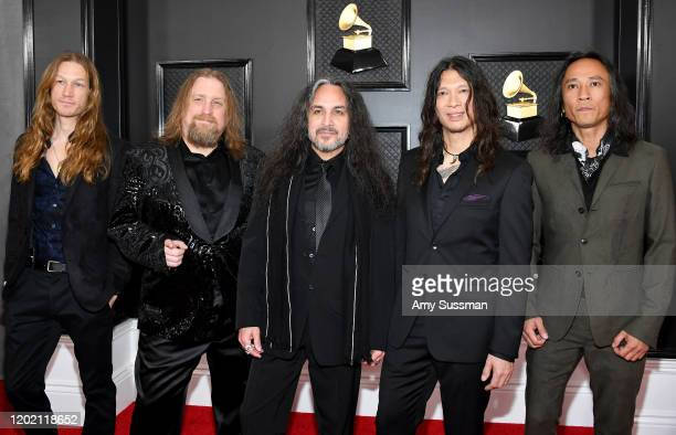 Damien Sisson Will Carroll Mark Osegueda Rob Cavestany and Ted Aguilar of Death Angel attend the 62nd Annual GRAMMY Awards at Staples Center on...