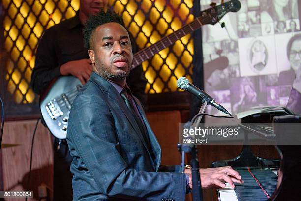 Damien Sneed performs during the War Room Bluray Release Gospel Brunch at Red Rooster Restaurant on December 17 2015 in New York City