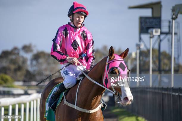 Damien Thornton returns to the mounting yard on Fill the Flute after winning the Rex Gorell Volkswagen BM58 Handicap at Geelong Synthetic Racecourse...