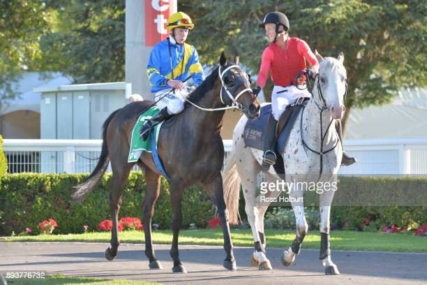 Damien Thornton returns to the mounting yard on Seeking Alpha after winning the Zaparas Lawyers FM Maiden Plate at Cranbourne Racecourse on December...