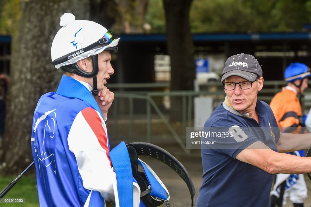 Damien Thornton with Glenn Thornton after winning the bet365 Official Price Guarantee BM58 Handicap at Kyneton Racecourse on February 21, 2018 in Kyneton, Australia.