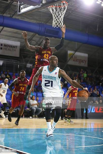 Damien Wilkins of the Greensboro Swarm handles the ball agains the Fort Wayne Mad Ants during the game at the The Field House at the Greensboro...