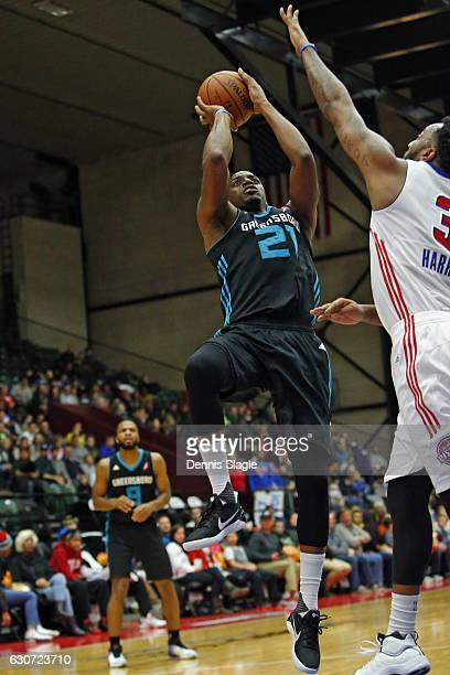 Damien Wilkins of the Greensboro Swarm shoots the ball against the Grand Rapids Drive at The DeltaPlex Arena on December 30 2016 in Grand Rapids...