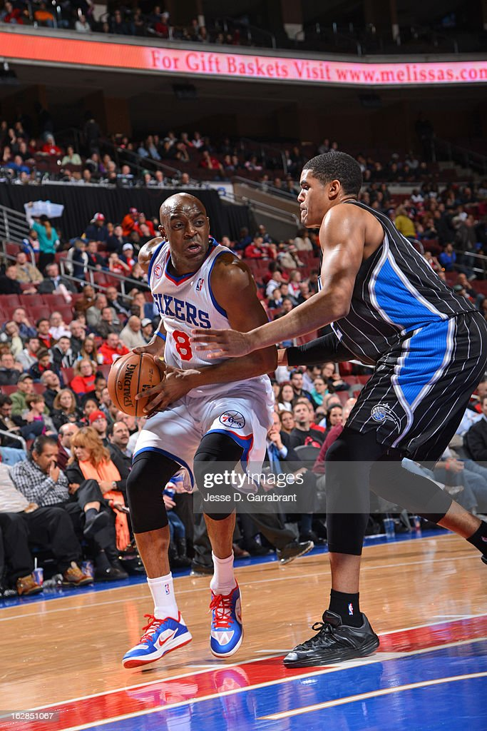 Damien Wilkins #8 of the Philadelphia 76ers drives to the basket against the Orlando Magic at the Wells Fargo Center on February 26, 2013 in Philadelphia, Pennsylvania.