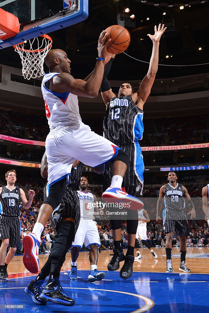 Damien Wilkins #8 of the Philadelphia 76ers passes the ball against the Orlando Magic at the Wells Fargo Center on February 26, 2013 in Philadelphia, Pennsylvania.