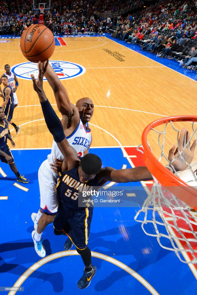 Damien Wilkins #8 of the Philadelphia 76ers puts up a shot against the Indiana Pacers at the Wells Fargo Center on March 16, 2013 in Philadelphia, Pennsylvania.
