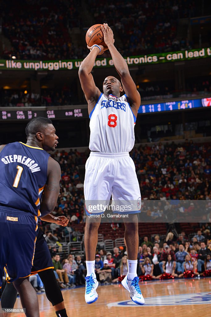 Damien Wilkins #8 of the Philadelphia 76ers takes a shot against the Indiana Pacers at the Wells Fargo Center on March 16, 2013 in Philadelphia, Pennsylvania.
