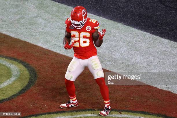 Damien Williams of the Kansas City Chiefs celebrates after a touchdown against the San Francisco 49ers during the fourth quarter in Super Bowl LIV at...