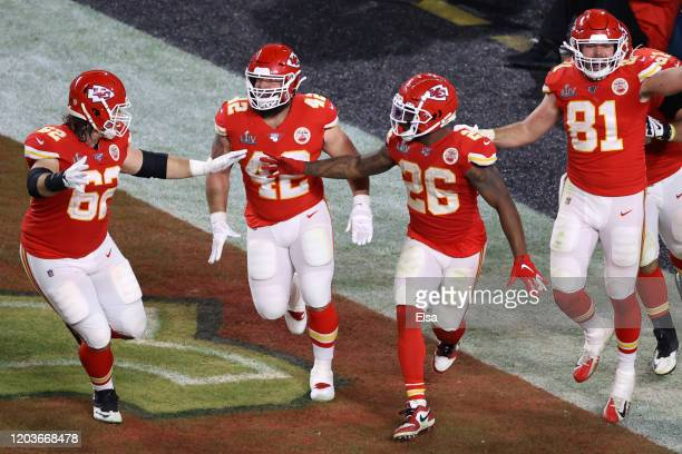 Damien Williams of the Kansas City Chiefs celebrates after a touchdown run against the San Francisco 49ers during the fourth quarter in Super Bowl...