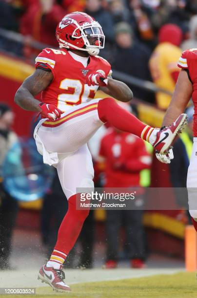 Damien Williams of the Kansas City Chiefs reacts after a touchdown in the fourth quarter against the Tennessee Titans in the AFC Championship Game at...