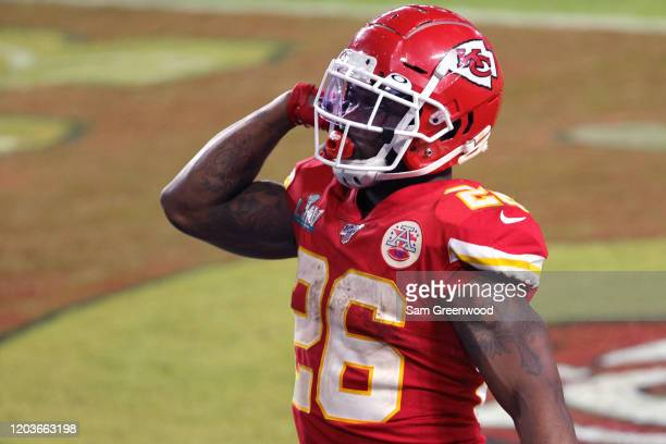 Damien Williams of the Kansas City Chiefs reacts after running for a touchdown against the San Francisco 49ers during the fourth quarter in Super...