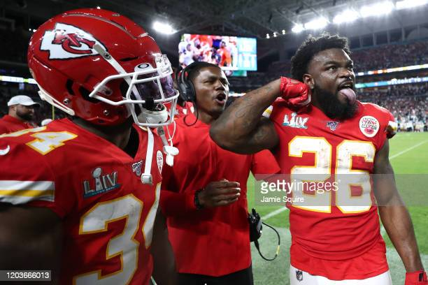 Damien Williams of the Kansas City Chiefs reacts against the San Francisco 49ers during the fourth quarter in Super Bowl LIV at Hard Rock Stadium on...