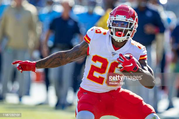 Damien Williams of the Kansas City Chiefs runs the ball during a game against the Tennessee Titans at Nissan Stadium on November 10 2019 in Nashville...
