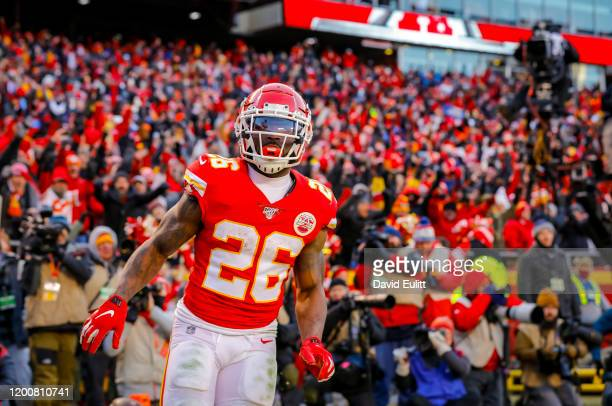 Damien Williams of the Kansas City Chiefs scores on a fourth quarter run in the AFC Championship game at Arrowhead Stadium on January 19 2020 in...