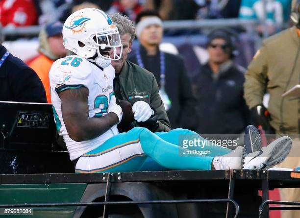 Damien Williams of the Miami Dolphins exits the game with an injury during the fourth quarter of a game against the New England Patriots at Gillette...