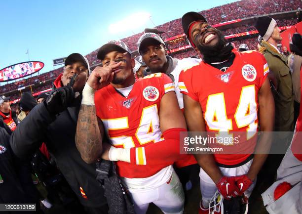 Damien Wilson and Dorian O'Daniel of the Kansas City Chiefs celebrate after defeating the Tennessee Titans in the AFC Championship Game at Arrowhead...