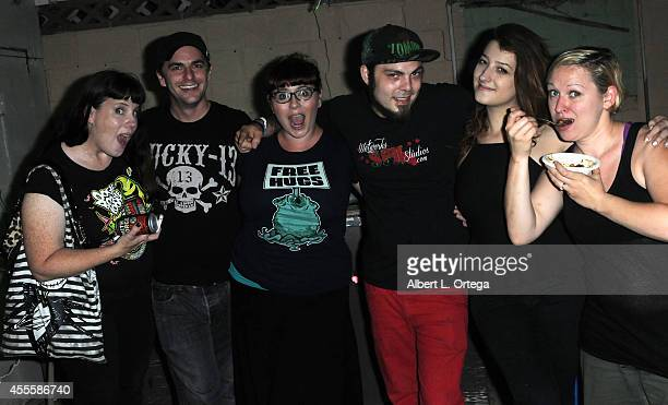 Damien Zimmerman and Stella Sensel at 'Mondo Crazy Mega Blut Qveefy Faceoff Viewing Party' For SyFy's 'Face Off' Season 7 on September 16 2014 in...