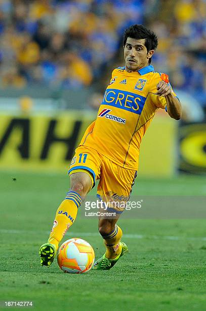 Damián Álvarez drives the ball during the match between Tigres and Pachuca as part of the Torneo Clausura 2013 on April 20, 2013 in Monterrey, Mexico.
