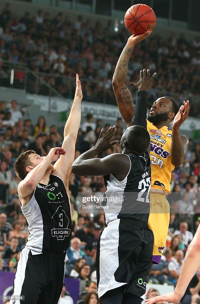 Damion James of the Sydney Kings shoots the ball during the round 11 NBL match between Melbourne United and Sydney Kings at Hisense Arena on December 16, 2015 in Melbourne, Australia.