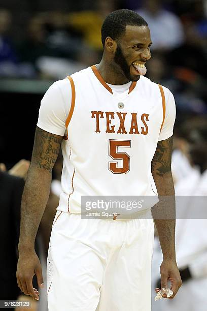 Damion James of the Texas Longhorns reacts in the second half while taking on the Iowa State Cyclones during the first round game of the 2010...