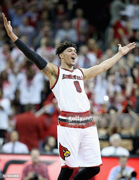 Damion Lee of the Louisville Cardinals celebrates after the 7165 win over the North Carolina Tar Heels at KFC YUM Center on February 1 2016 in...