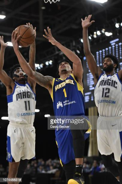 Damion Lee of the Santa Cruz Warriors drives to the basket against the Lakeland Magic during the NBA G League Winter Showcase on December 20, 2018 at...