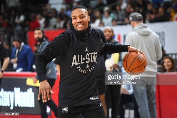 Damion Lillard of Team Curry practices for the 2018 NBA AllStar game at the Verizon Up Arena at LACC on February 17 2018 in Los Angeles California...
