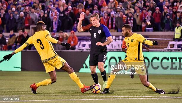 Damion Lowe and Sergio Campbell cut off Jordan Morris of USA during the first half of a friendly match at Finley Stadium on February 3 2017 in...