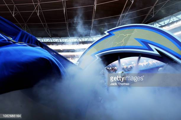 Damion Square of the Los Angeles Chargers runs out onto the field prior to the NFL International Series game between Tennessee Titans and Los Angeles...