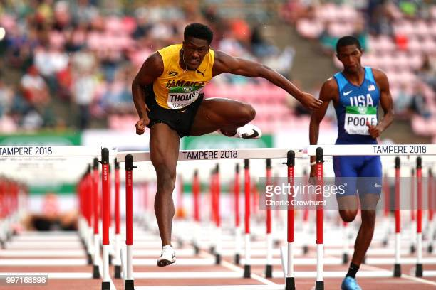 Damion Thomas of Jamaica in action the final of the men's 110m hurdles during day three of The IAAF World U20 Championships on July 12 2018 in...