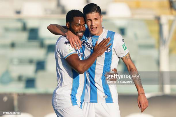 Damir Ceter of Pescara Calcio celebrates after scoring a goal during the Serie B match between Pescara Calcio and AS Cittadella at Adriatico Stadium...