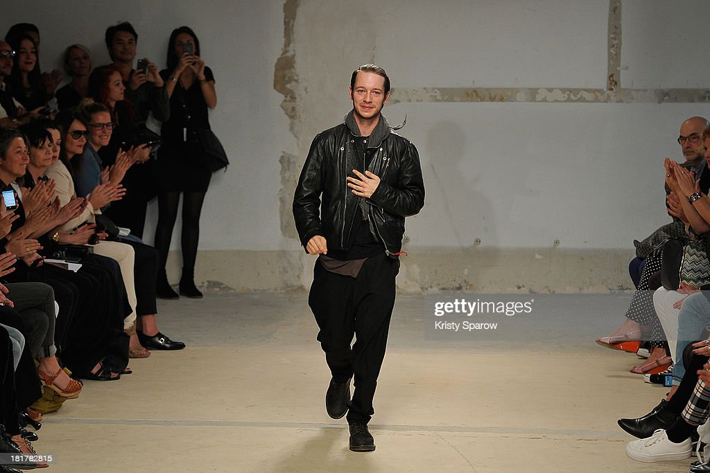 Damir Doma acknowledges the audience during Damir Doma show as part of the Paris Fashion Week Womenswear Spring/Summer 2014 on September 25, 2013 in Paris, France.
