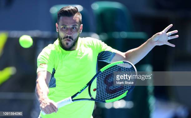 Damir Dzumhur during practice after the Official Draw ahead of the Davis Cup Qualifier tie between Australia and Bosnia Herzegovina at Memorial Drive...