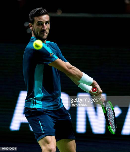 Damir Dzumhur from Bosnia and Herzegovina in action in his second round match against Andrey Rublev from Russia on day 4 of the ABN AMRO World Tennis...
