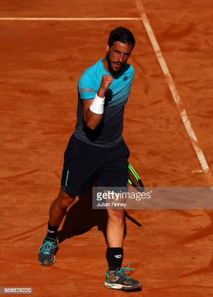 Damir Dzumhur of Bahamas celebrates winning a game in his match against Fernando Verdasco of Spain during day three of the Internazionali BNL...