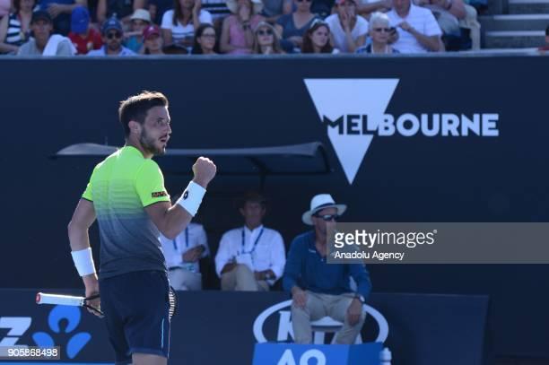Damir Dzumhur of Bosnia and Herzegovina celebrates a point against John Milman of Australia during the third day of 2018 Australian Open tennis match...