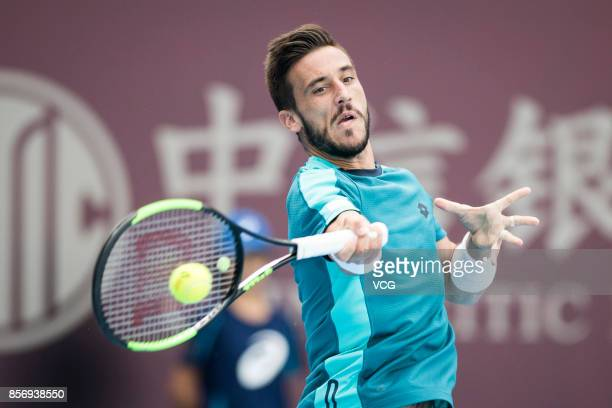 Damir Dzumhur of Bosnia and Herzegovina competes during the Men's singles first round match against Grigor Dimitrov of Bulgaria on day four of 2017...