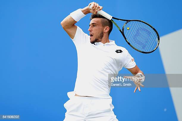 Damir Dzumhur of Bosnia and Herzegovina plays a forehand during his men's singles match against Denis Istomin of Uzbekistan during day two of the ATP...