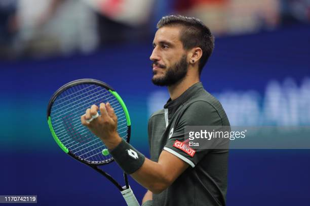 Damir Dzumhur of Bosnia and Herzegovina prior to his Men's Singles second round match against Roger Federer of Switzerland on day three of the 2019...