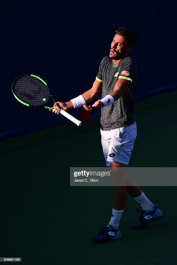 Damir Dzumhur of Bosnia and Herzegovina reacts after a point in his match against Hyeon Chung of Korea during their quarterfinals match of the Winston-Salem Open at Wake Forest University on August 24, 2017 in Winston-Salem, North Carolina.