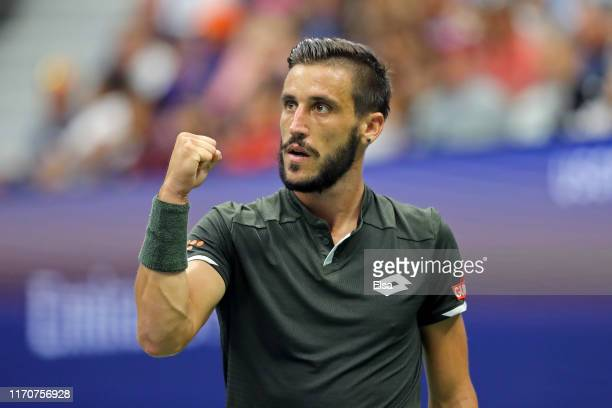 Damir Dzumhur of Bosnia and Herzegovina reacts during his Men's Singles second round match against Roger Federer of Switzerland on day three of the...