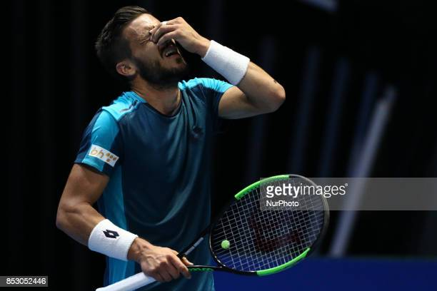 Damir Dzumhur of Bosnia and Herzegovina reacts during the St Petersburg Open ATP tennis tournament final match in StPetersburg
