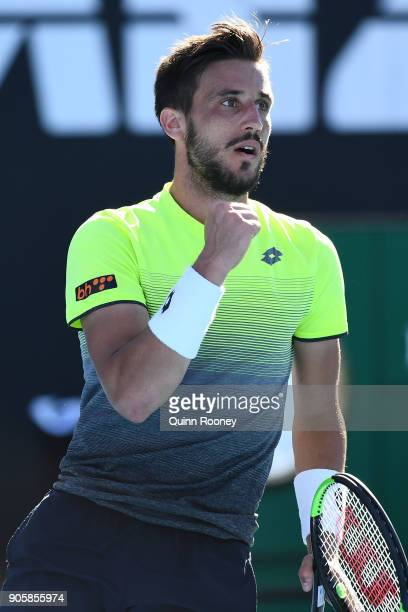 Damir Dzumhur of Bosnia and Herzogovina celebrates winning a point in his second round match against John Millman of Australia on day three of the...