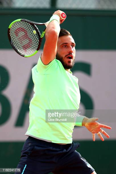 Damir Dzumhur of Bosnia during his mens singles first round match against Antoine Hoang of France during Day three of the 2019 French Open at Roland...