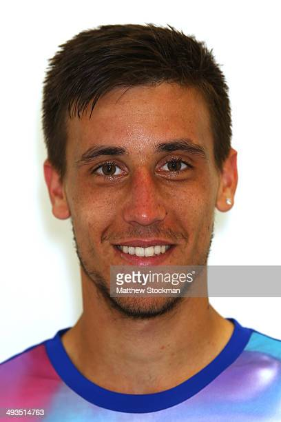 Damir Dzumhur of Bosnia poses during previews ahead of the French Open at Roland Garros on May 23 2014 in Paris France