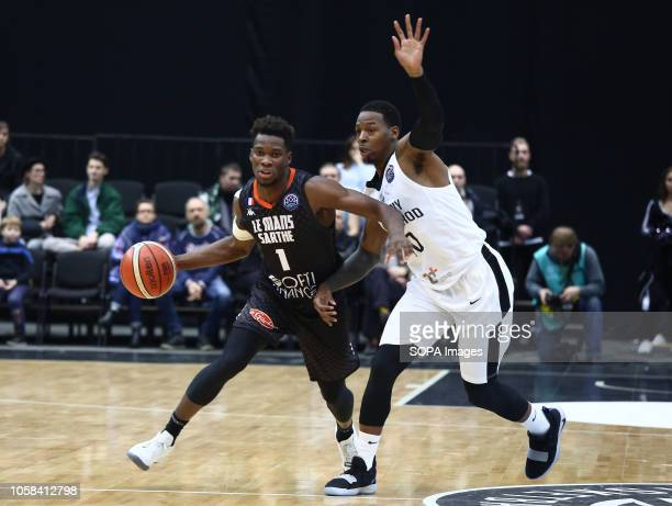 Damir Govens and Louis Rucklin seen in action during the game Basketball Champions League BC Nizhny Novgorod from Russia vs Le Mans from France The...