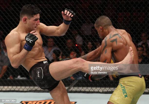 Damir Hadzovic of Bosnia kicks Alan Patrick of Brazil in their lightweight bout during the UFC Fight Night event at Mangueirinho Arena on February 03...